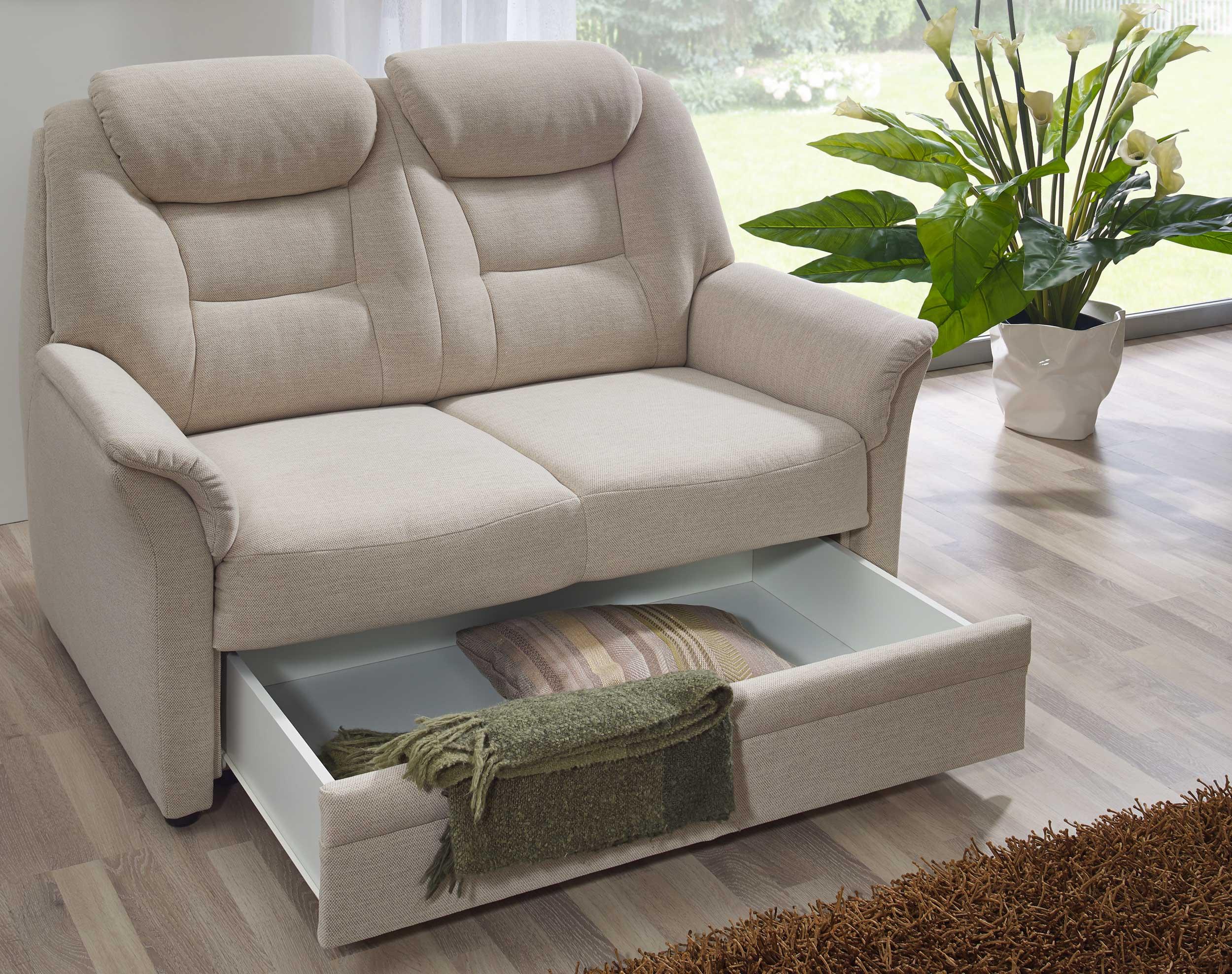 Dietsch Kiel 2 Sitzer Sofa mit Bettkasten beige