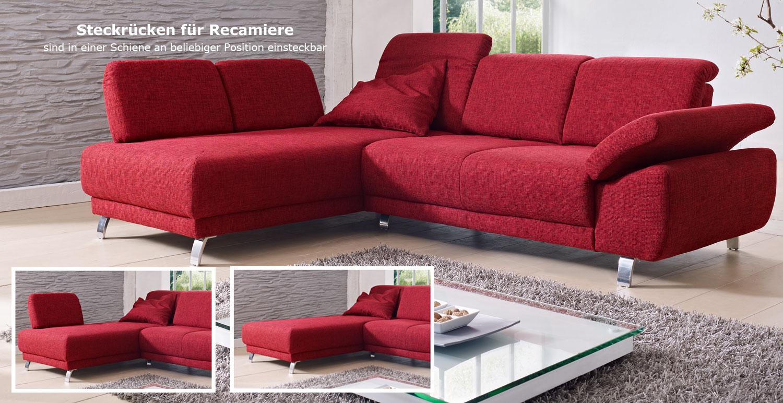 Das Bild zeigt ein Time Sofa mit Ottomane rot.