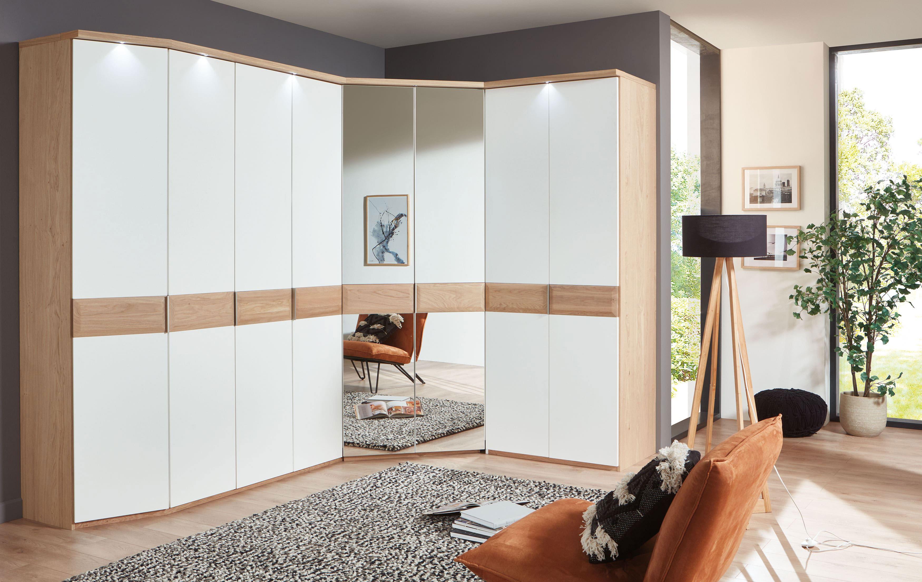 Disselkamp Cavalino Eck-Kleiderschrank mit Spiegel balkeneiche/weiß