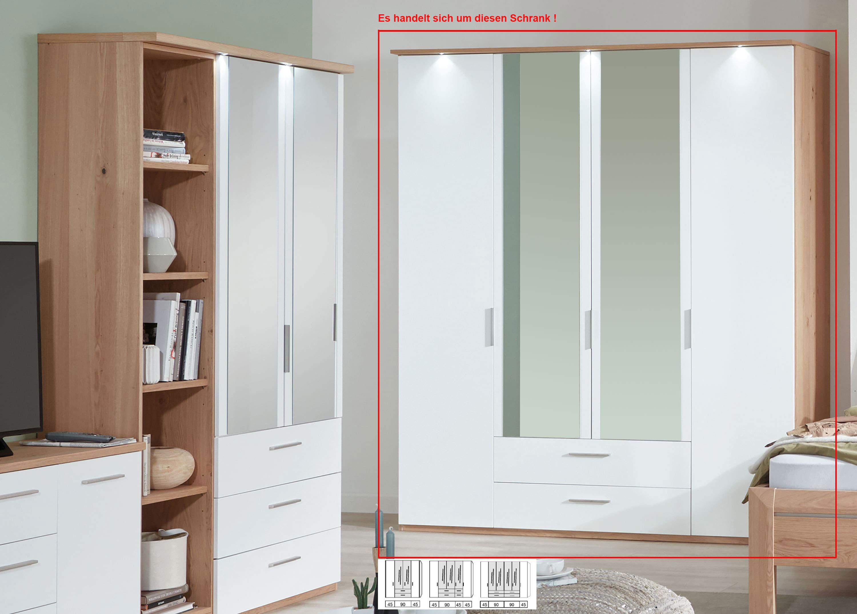Disselkamp Cavalino Kleiderschrank mit Spiegel und Schubkästen