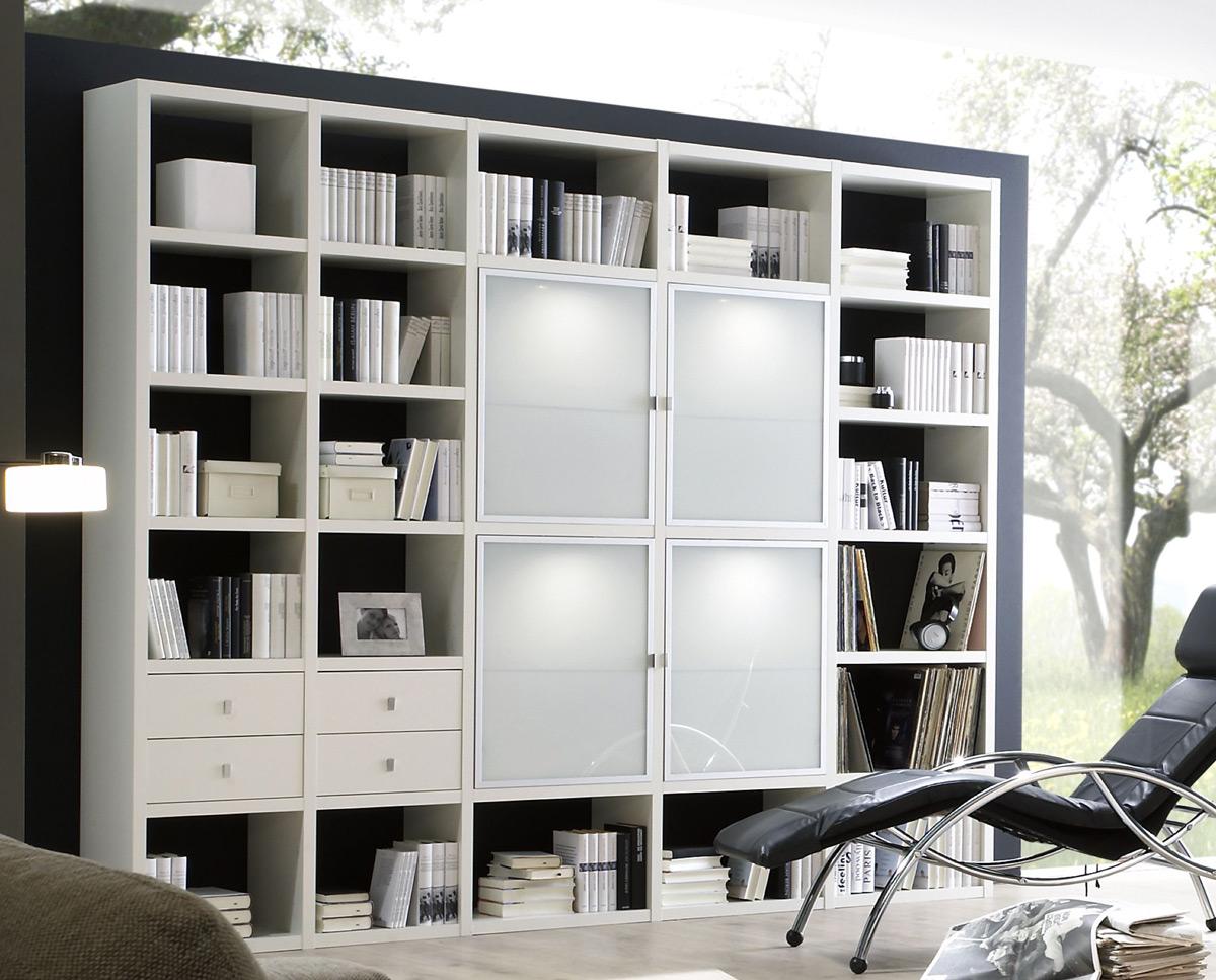 Toro Bücherregal weiß mit Glastüren und Schubladen