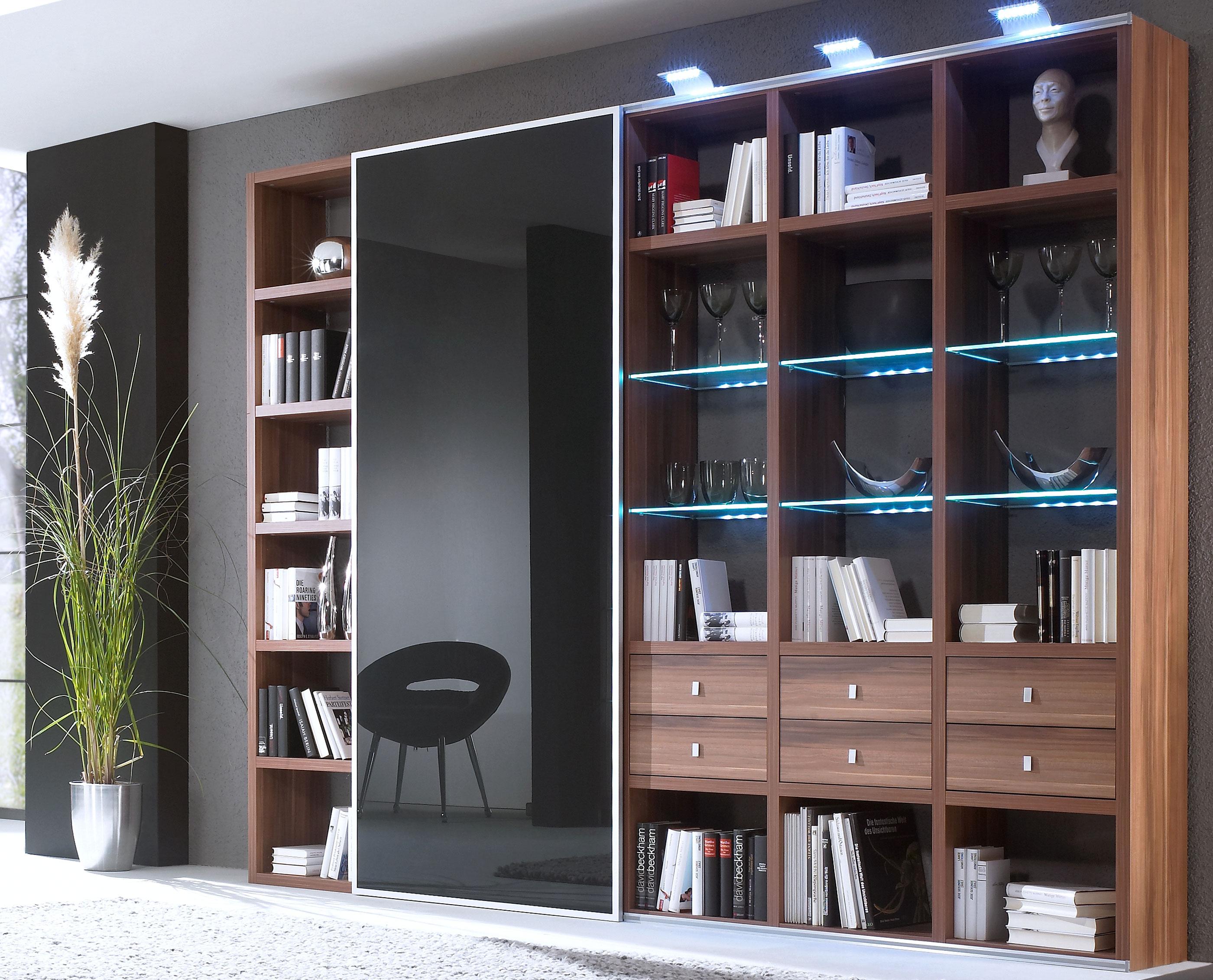 Toro Bücherregal mit Glastüren in walnuss