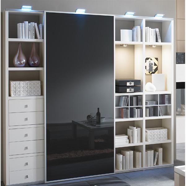 Toro Wohnzimmerregal mit Schiebetür Lack weiß