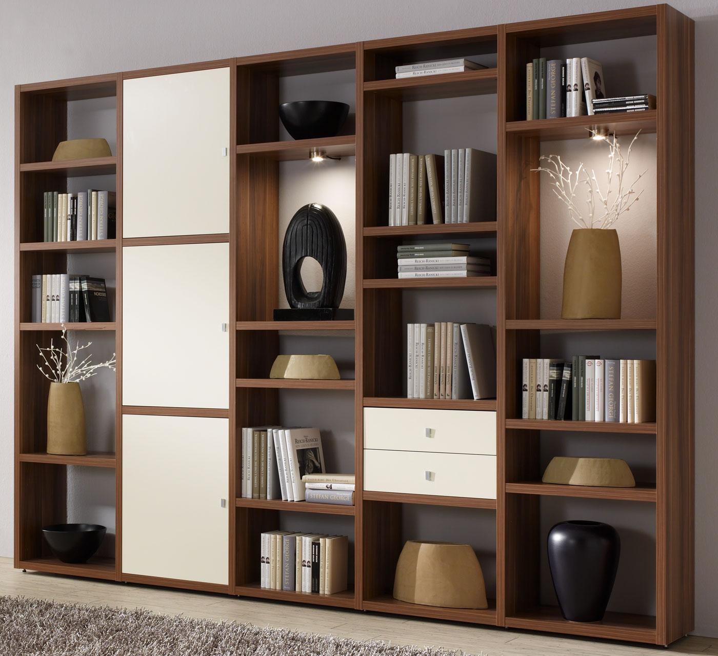 Toro Bücherregal mit Türen walnuss / weiß