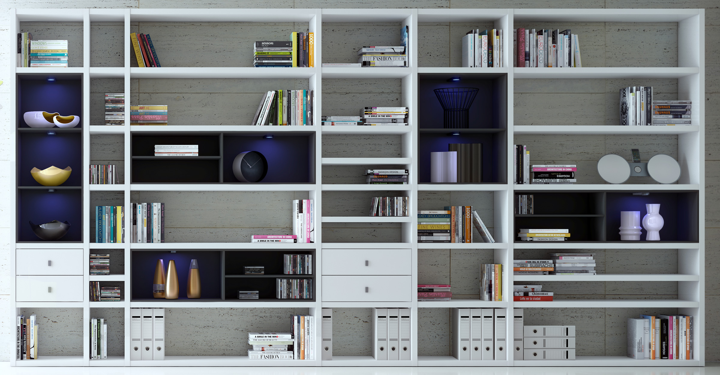 Toro Bücherregal nach Maß in Lack weiß