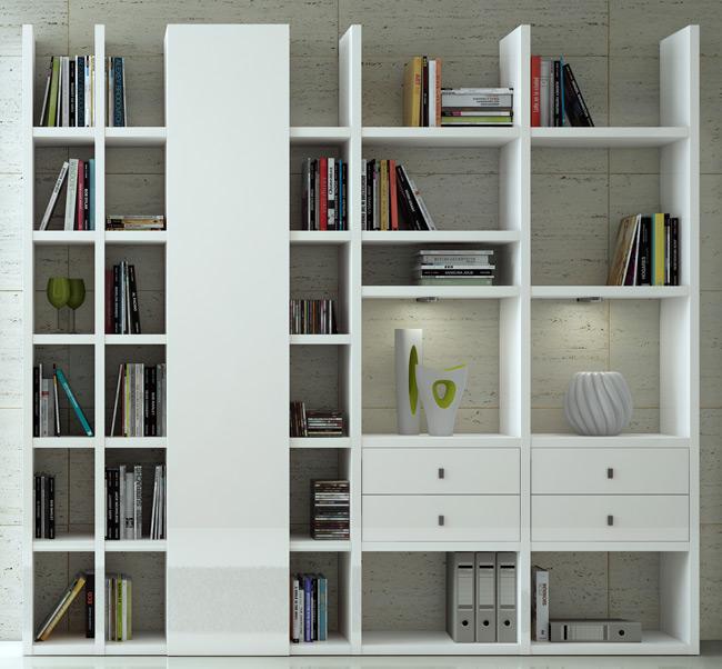 Das Bild zeigt ein Toro Wohnzimmer Regal in weiß.