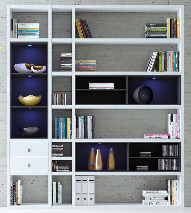 Das Bild zeigt eines der möglichen Toro Bücherregale nach Maß.