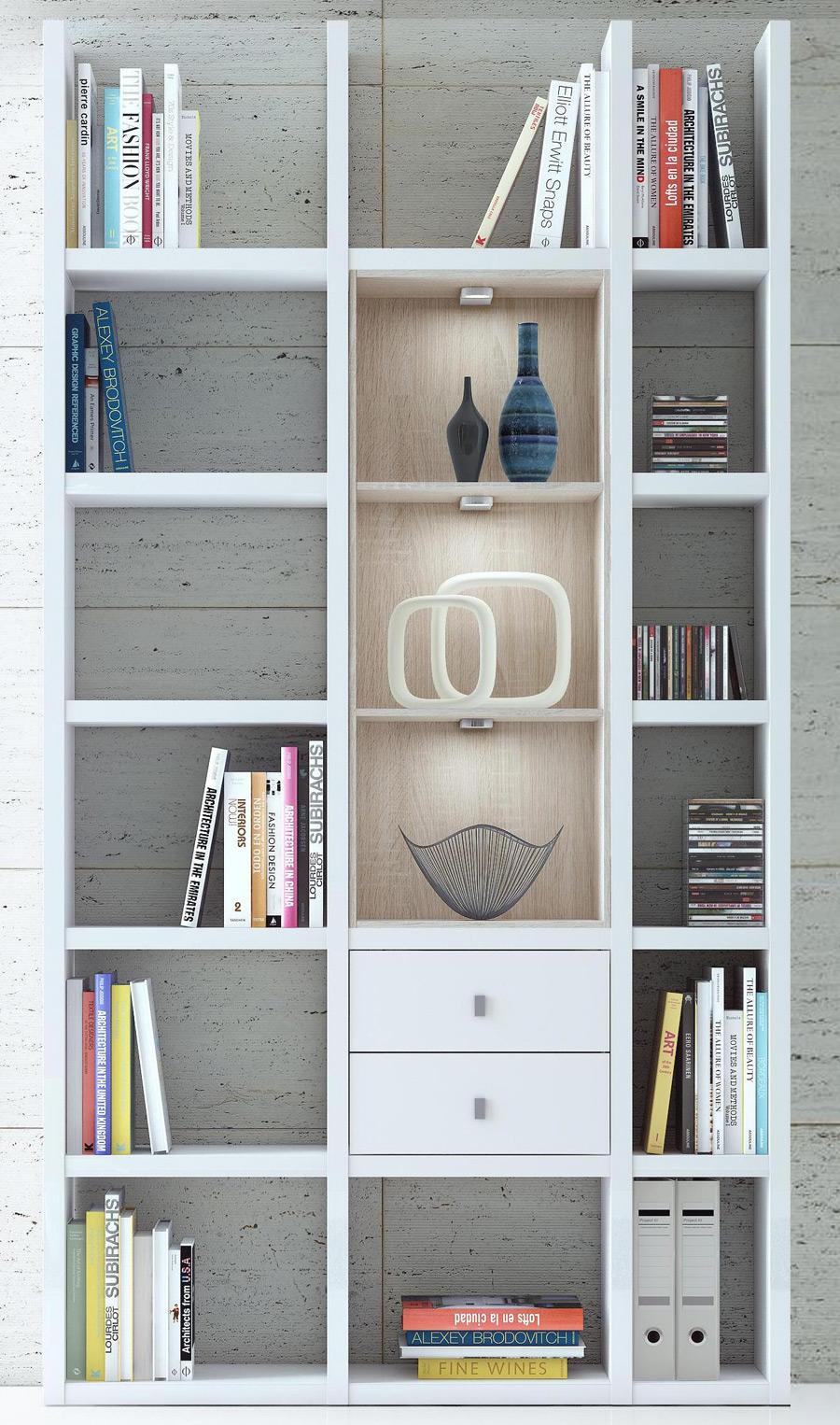 schmales Bücherregal weiß mit Schubladen