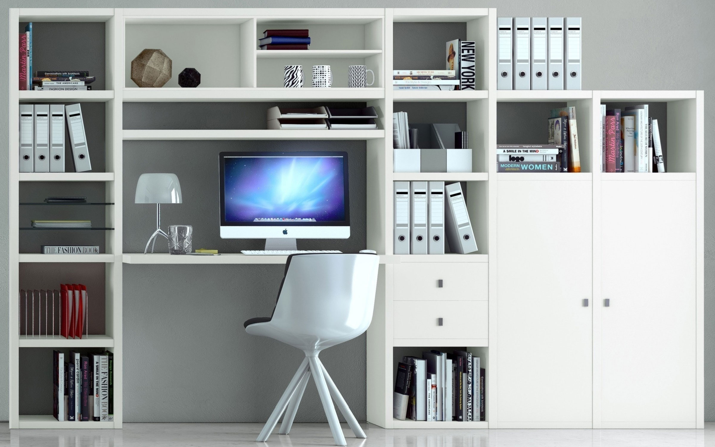 Toro Bücherregal weiß mit Schreibtisch