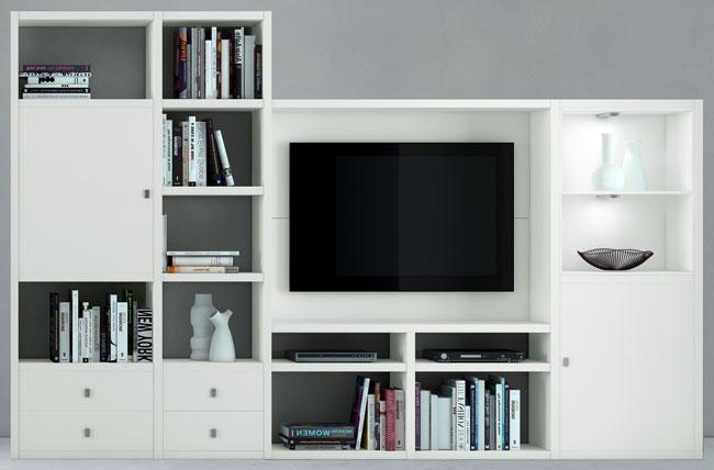 Das Bild zeigt ein Toro Regal mit TV-Fach in weiß.