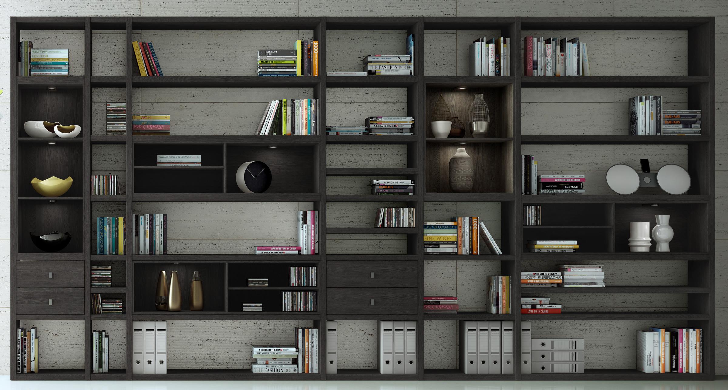 Toro Bücherregal eiche schwarz braun mit Türen