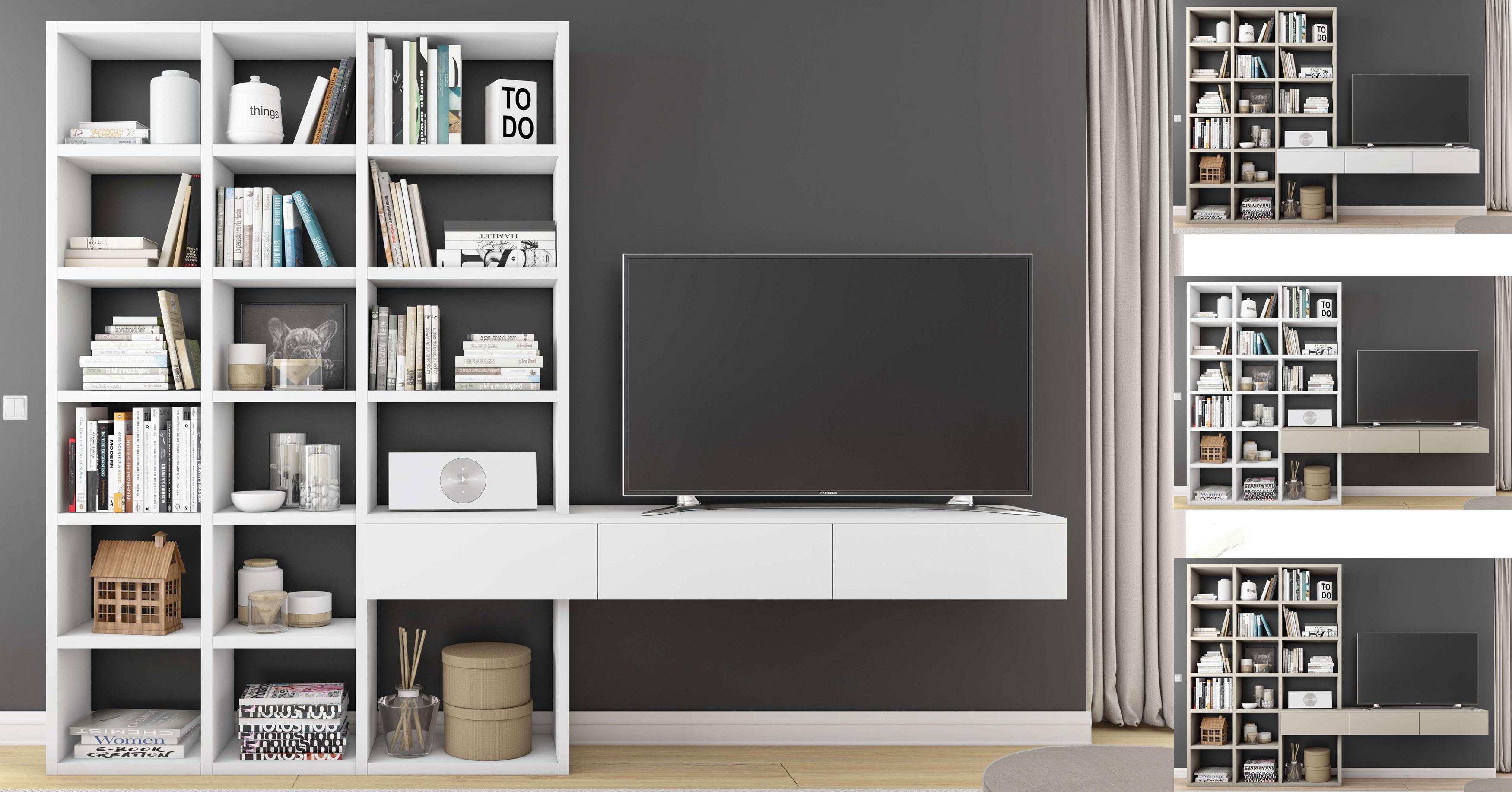 Toro Wohnwand mit TV Board weiß