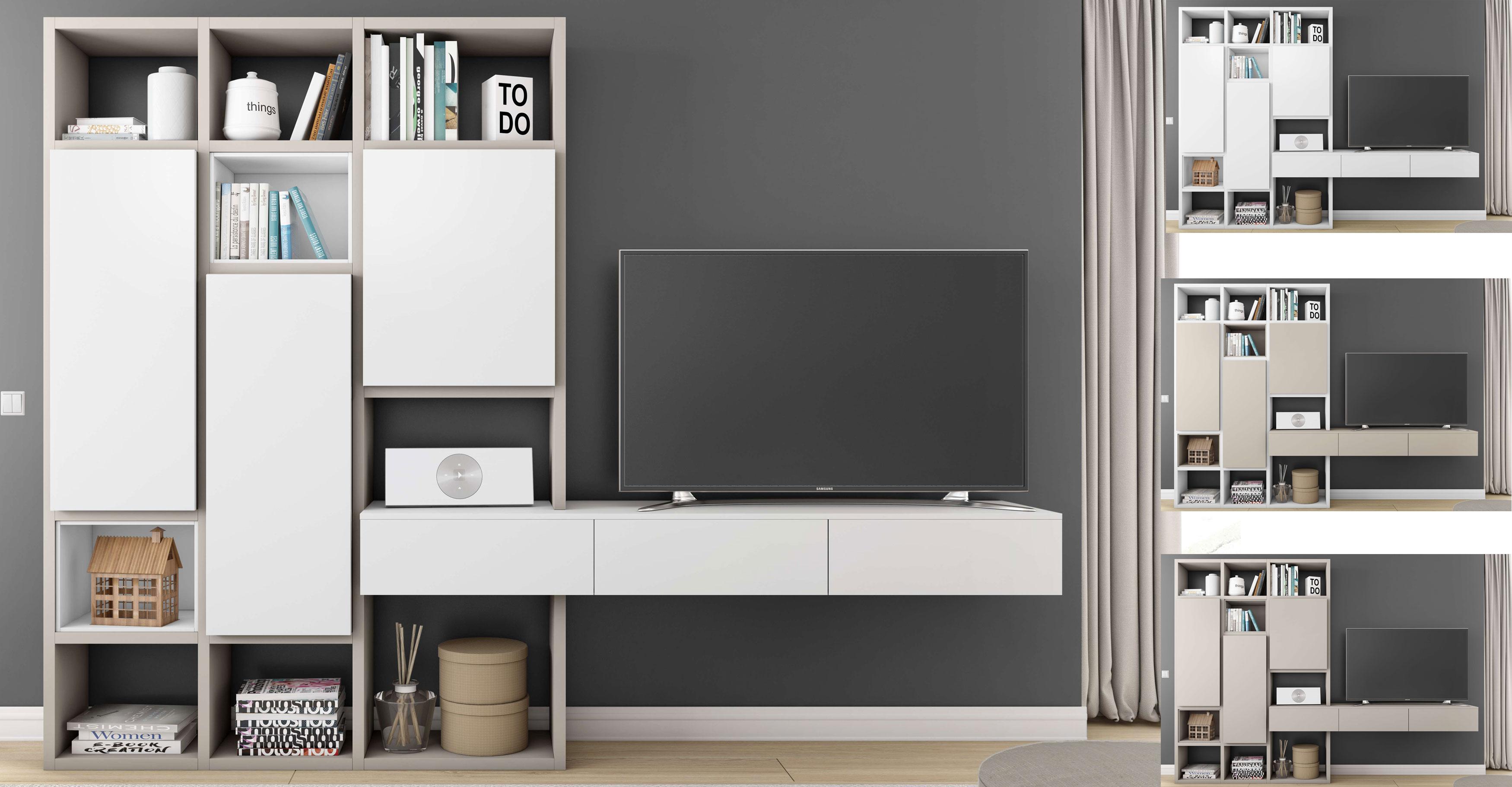 Toro Wohnwand mit TV Board beige