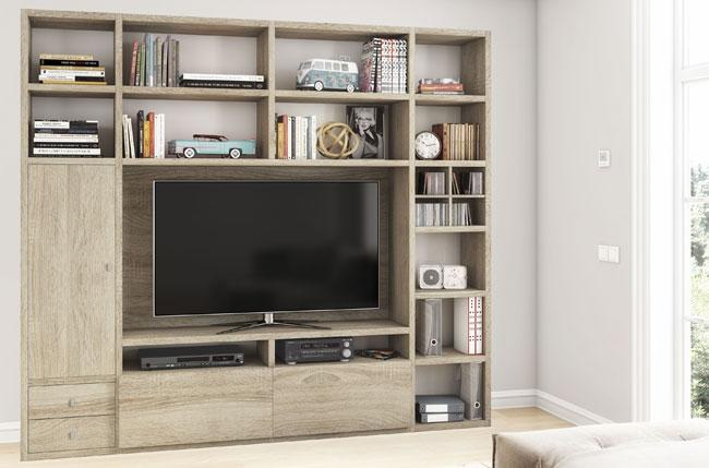 Toro Wohnwand eiche mit TV Fach