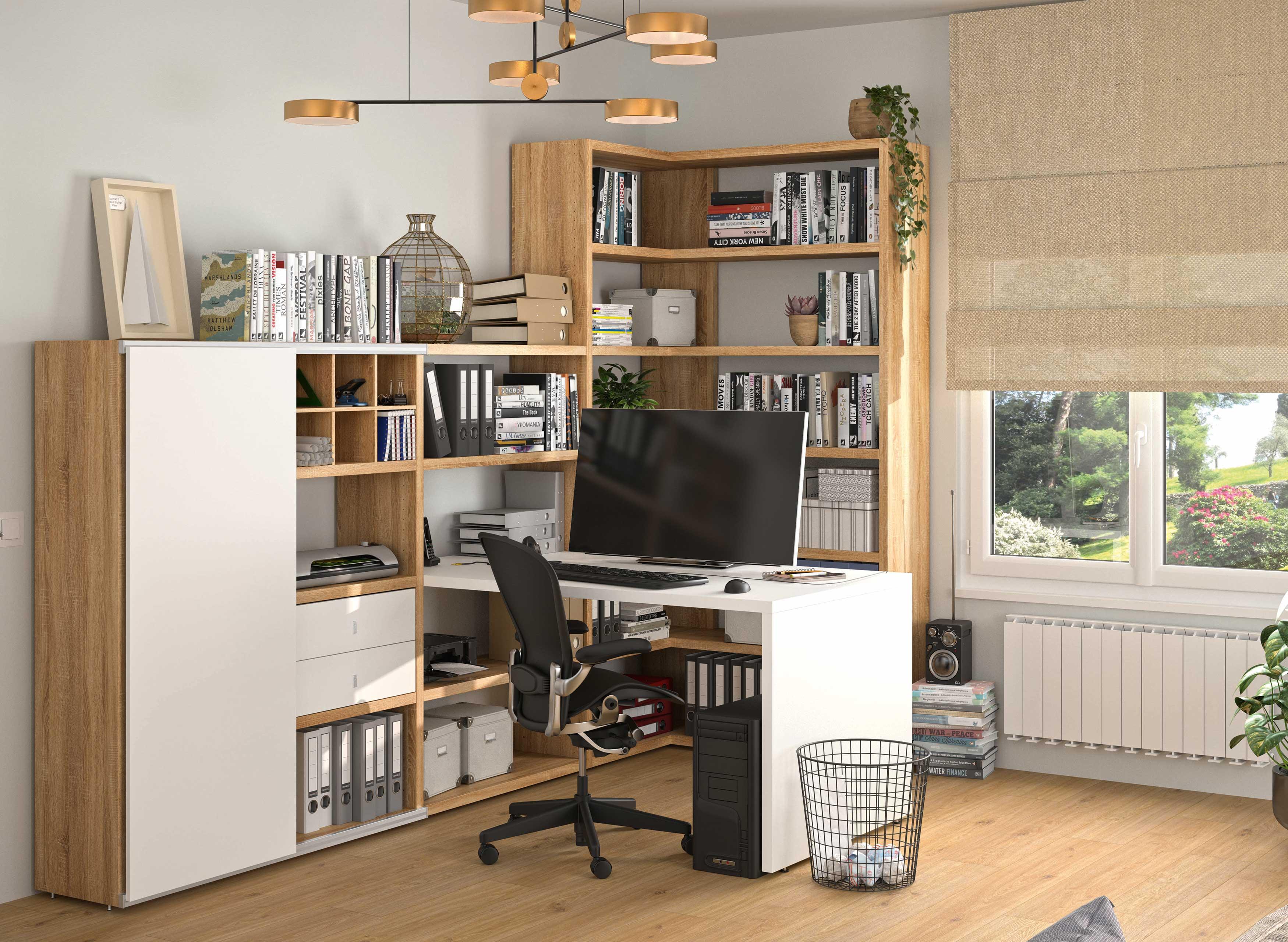 Toro Regalkombination mit integriertem Schreibtisch in weiß / eiche Dekor