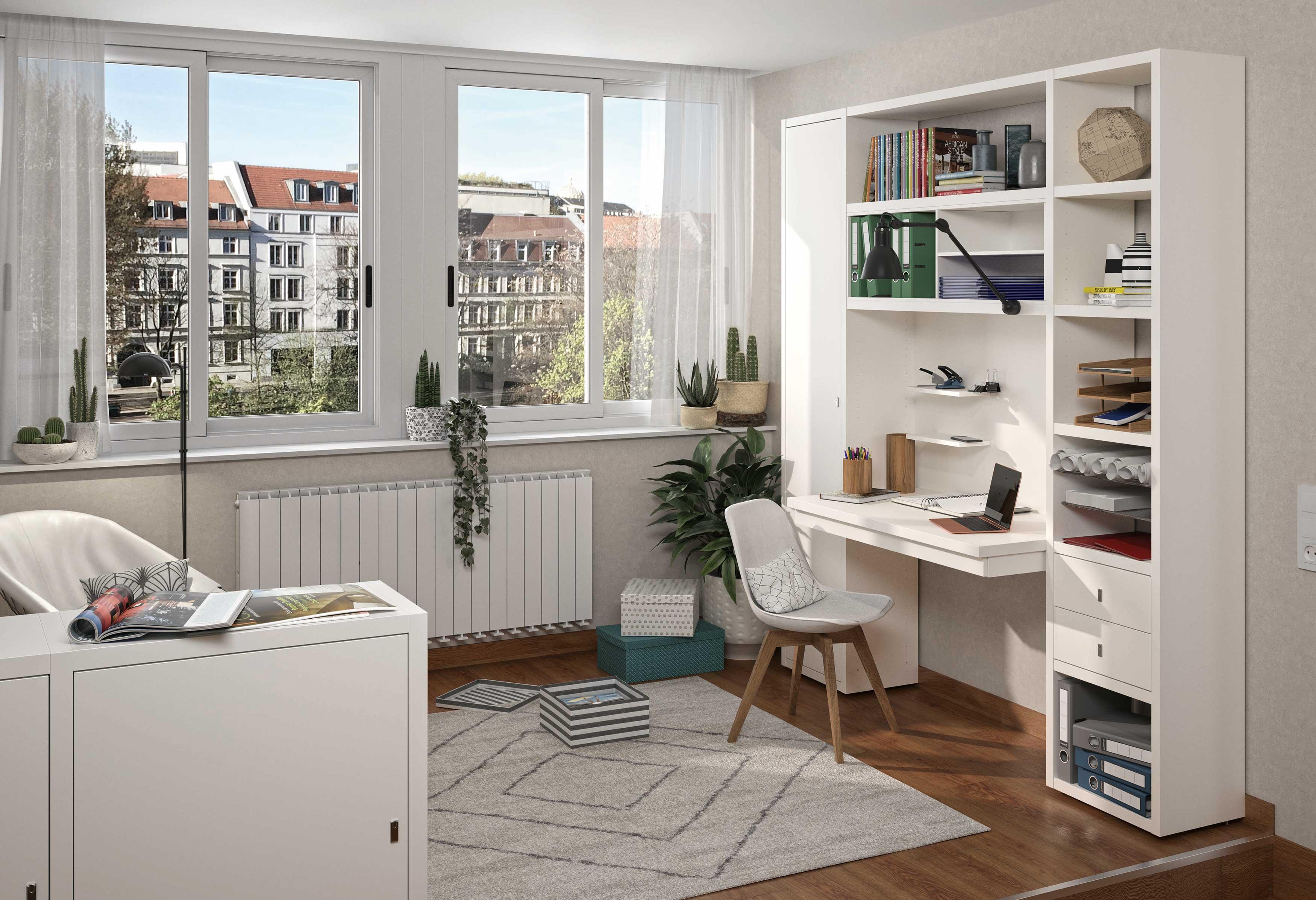 Toro Regalsystem mit integriertem Schreibtisch in weiß