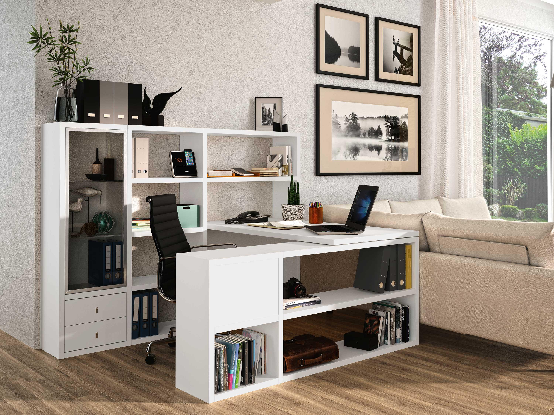 Toro Schreibtisch mit Regalen in weiß