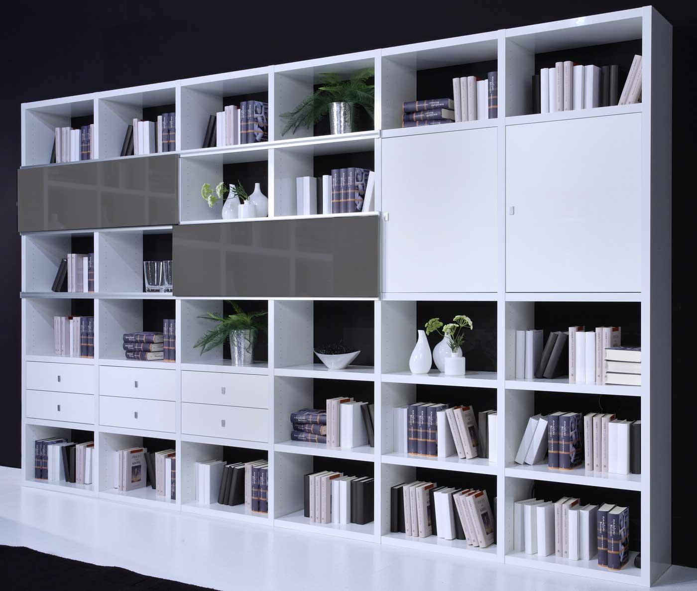 Toro Wohnzimmer Regal weiß Hochglanz mit Türen und Schubladen