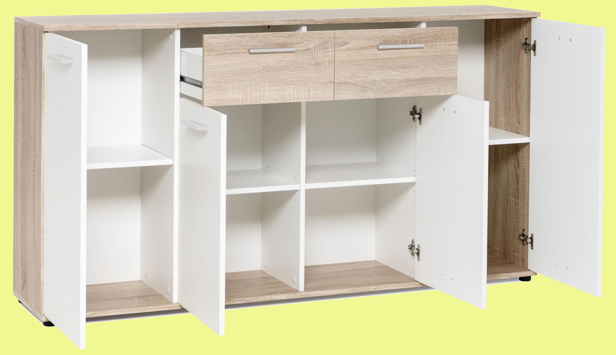 Jacky Sideboard mit Türen und Schubkasten weiß / eiche sonoma