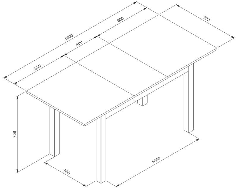 Küchentisch 120x80 cm