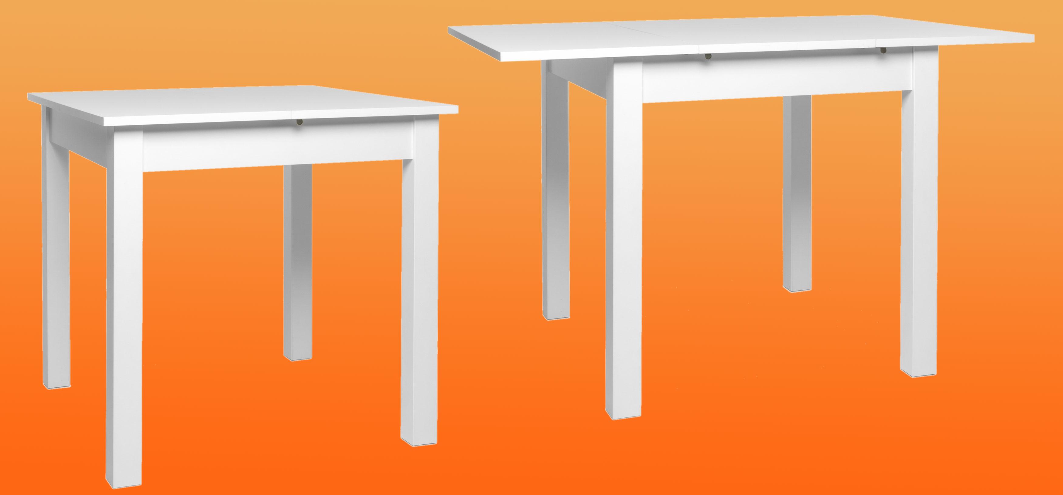 Küchentisch weiß 80x80 cm ausziehbar