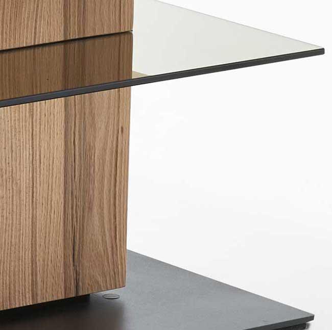Hartmann Talis Rifbuche Couchtisch mit Glasplatte schwenkbar