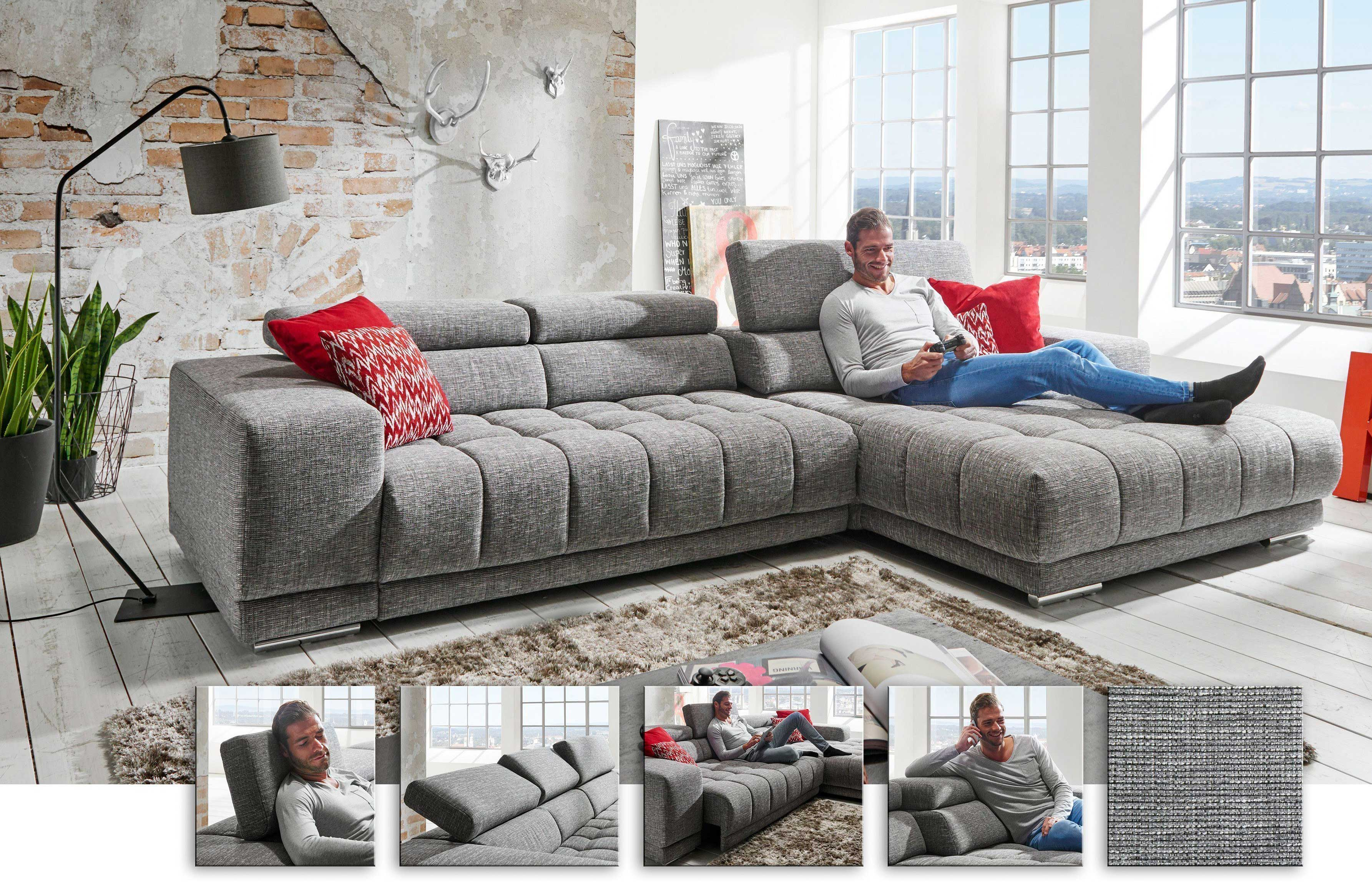 Megapol Satellite Sofa mit Recamiere grau