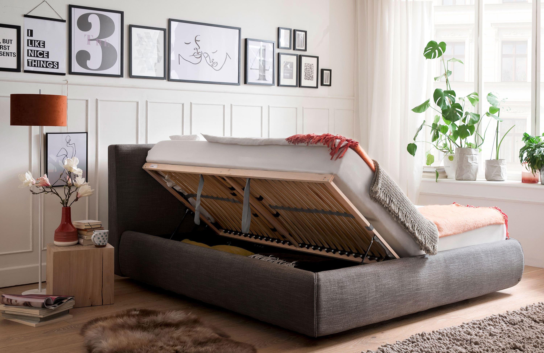Meise Atesio Polsterbett mit Bettkasten anthrazit 180x200 cm
