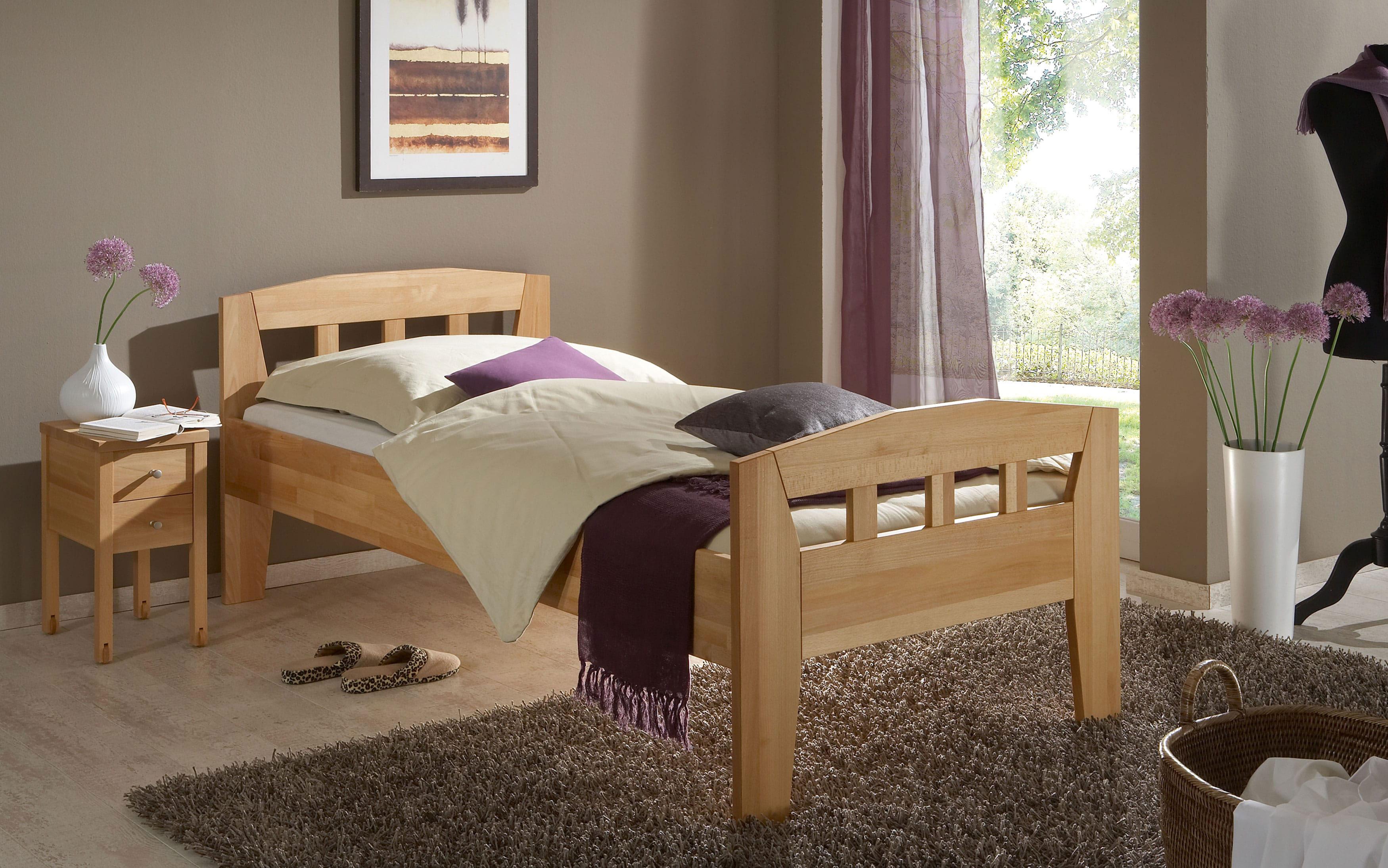 Komfortbett massiv buche mit Fußteil