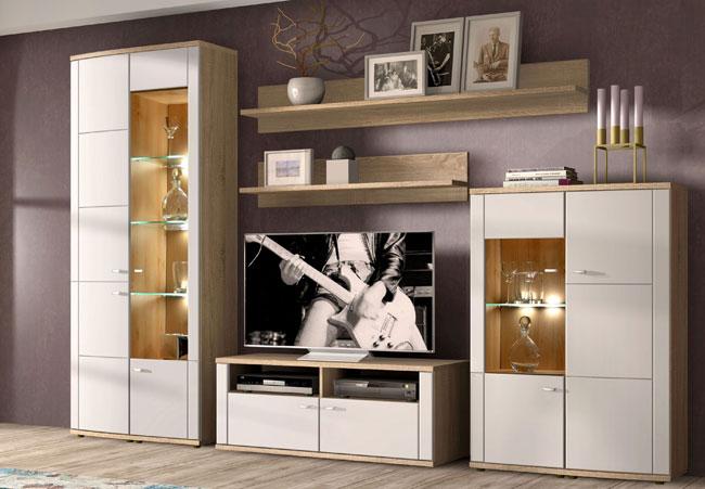 RMI Siena günstige Wohnwand eiche / weiß