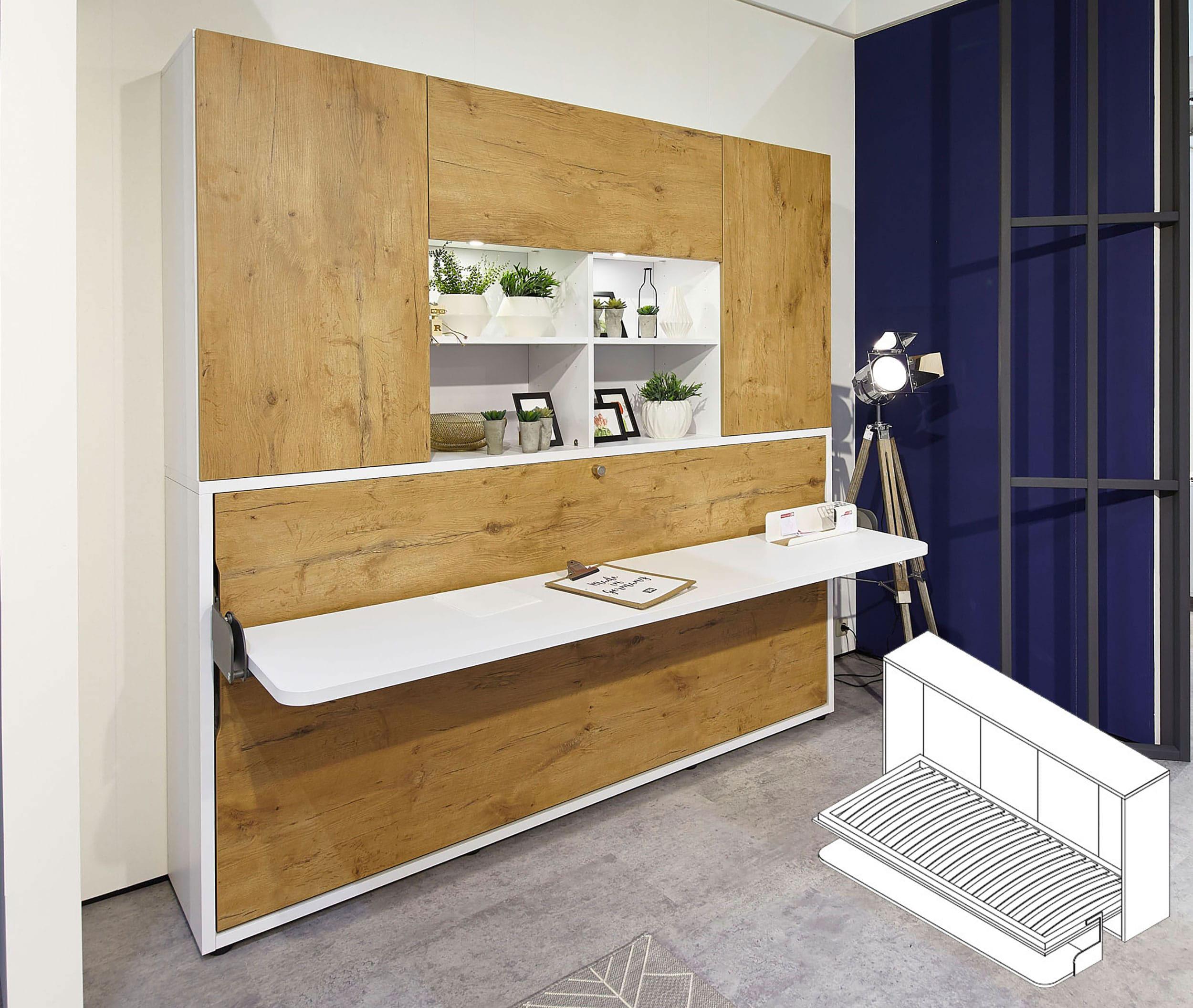 Rudolf Loop Schrankbett 90x200 cm mit Schreibtisch