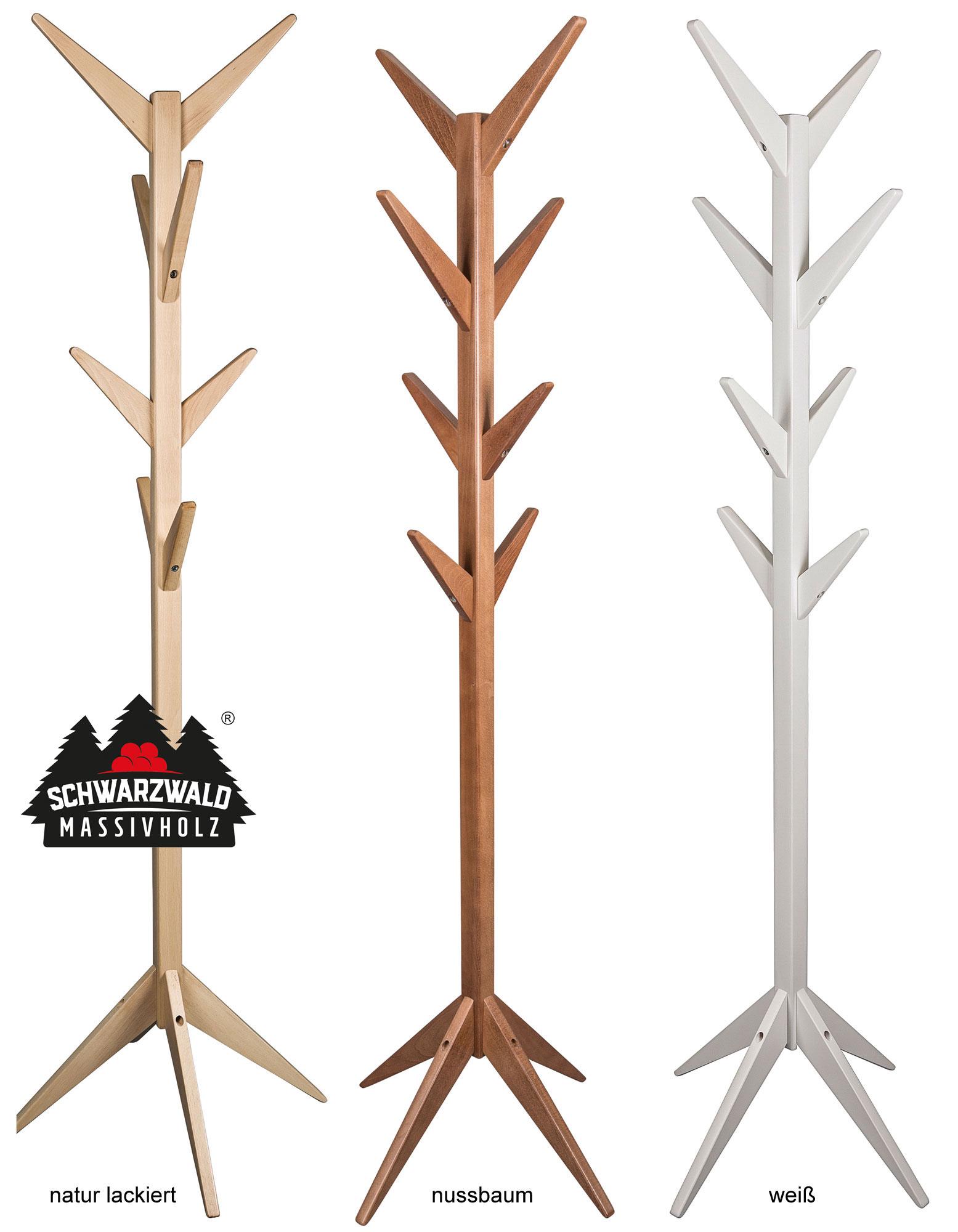 Massivholz Garderobenständer buche in 3 Farben