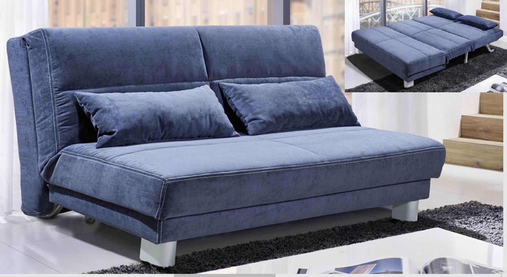 Sofateam Schlafsofa 160 cm blau