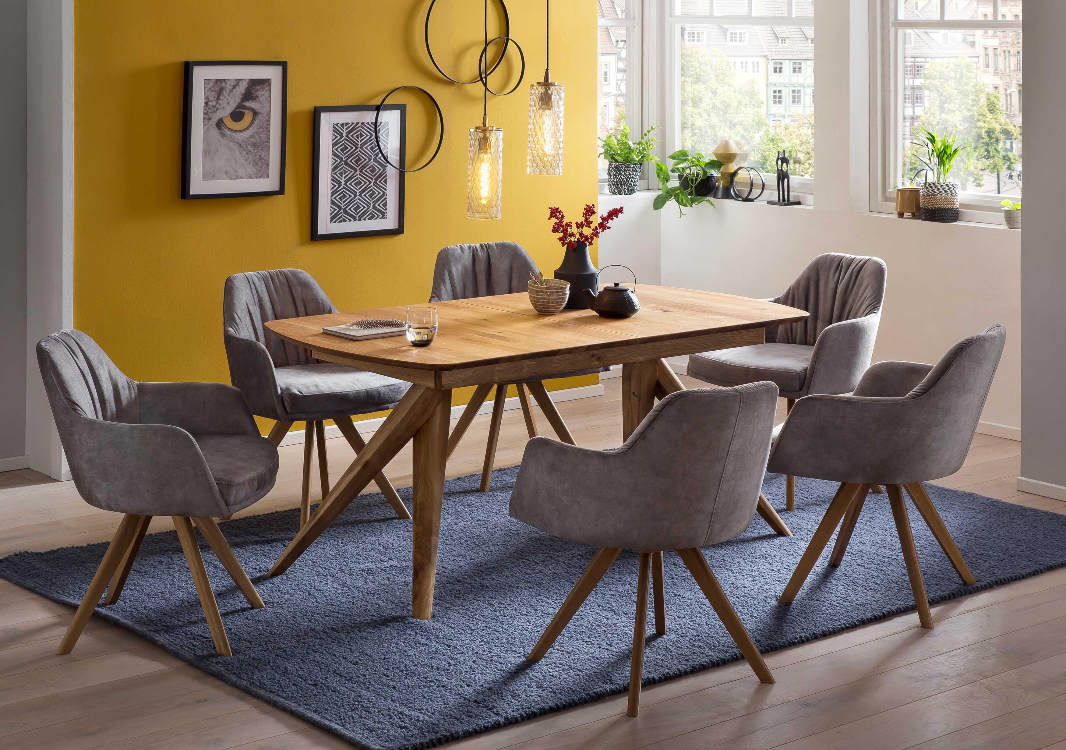 Standard Furniture Tischgruppe eiche rustikal mit Drehsesseln