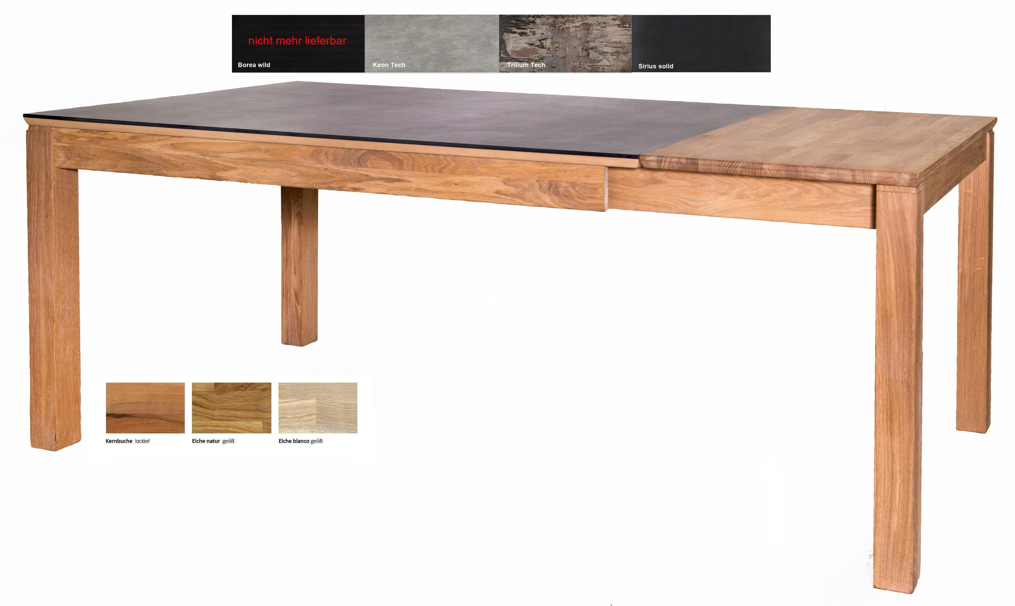 Standard Furniture Fano Massivholztisch eiche ausziehbar mit Dektonplatte