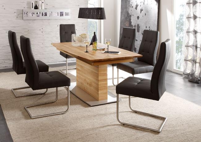 Standard Furniture Essgruppe eiche mit Tisch Arte S und Schwingstühlen Henry fango