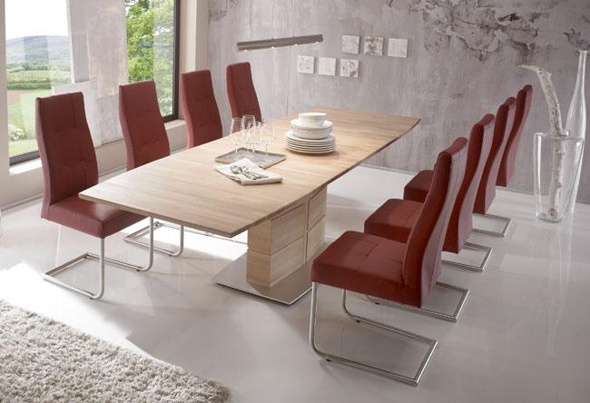 Standard Furniture Tischgruppe eiche mit Tisch Arte S und Stühlen Henry bordeaux