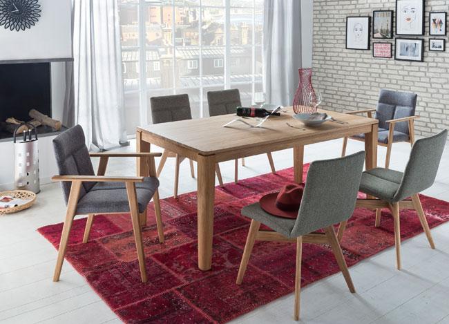 Standard Furniture Essgruppe eiche mit Tisch Houston und Stühlen Alina