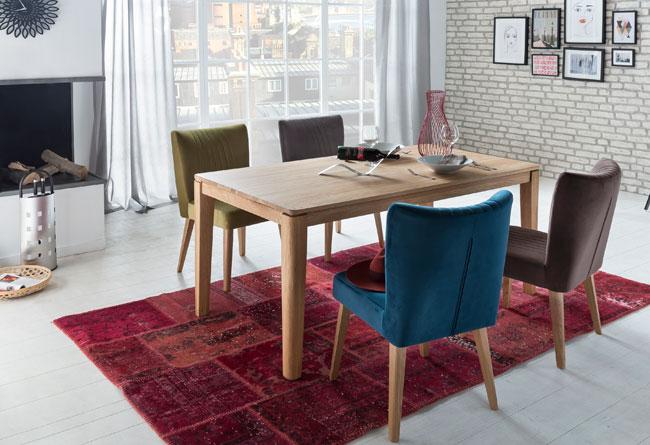 Standard Furniture Essgruppe eiche mit Tisch Houston und Stühlen Jan