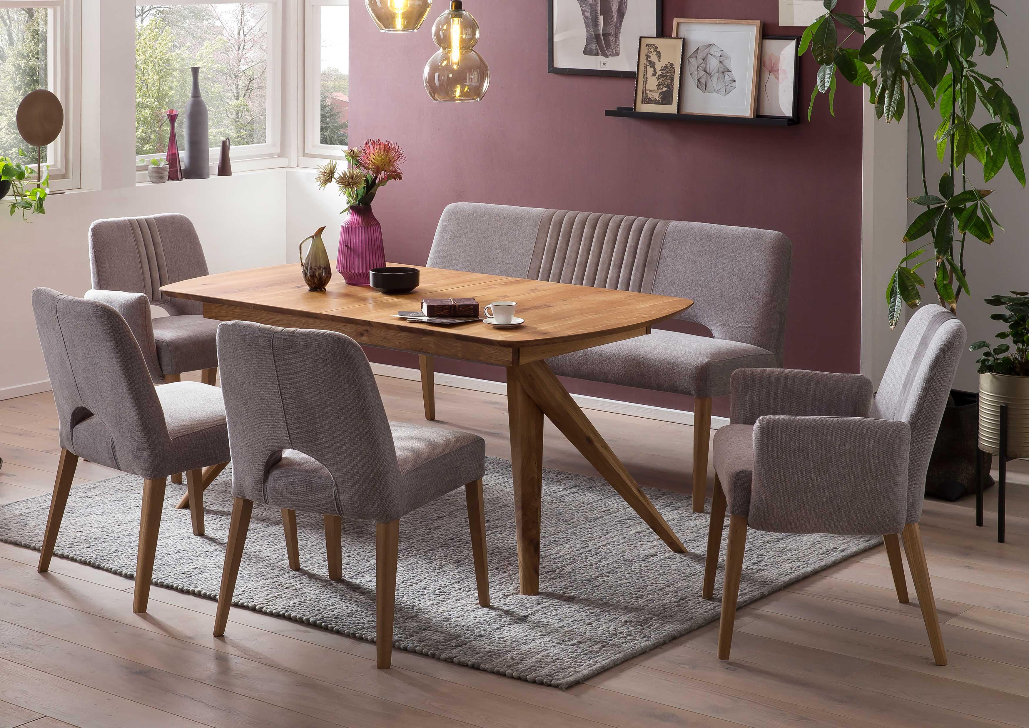 Standard Furniture Essgruppe mit Tisch Anor und Stühlen Nantes massiv eiche
