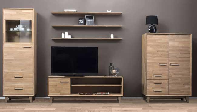 Standard Furniture Numero Wohnwand massiv eiche