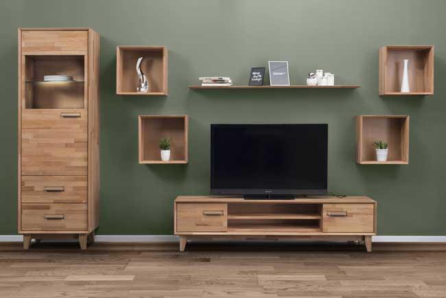 Standard Furniture Numero Wohnwand Massivholz kernbuche