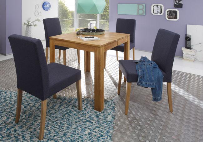 Tischgruppe mit Tisch Pedro und Stühlen Ellen eiche natur