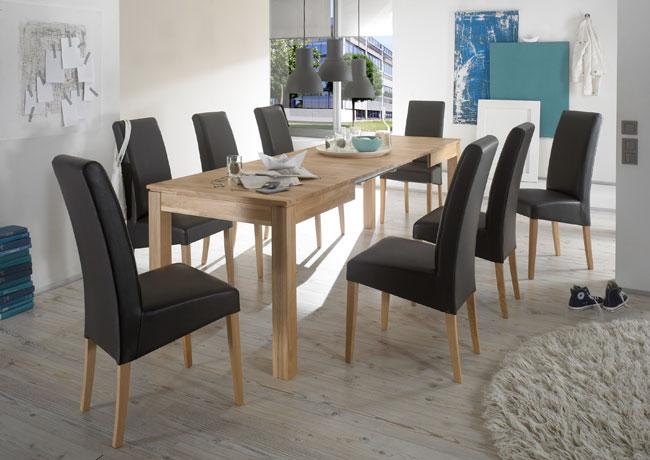 Essgruppe mit Tisch Rafael und Stühlen Rudi eiche natur