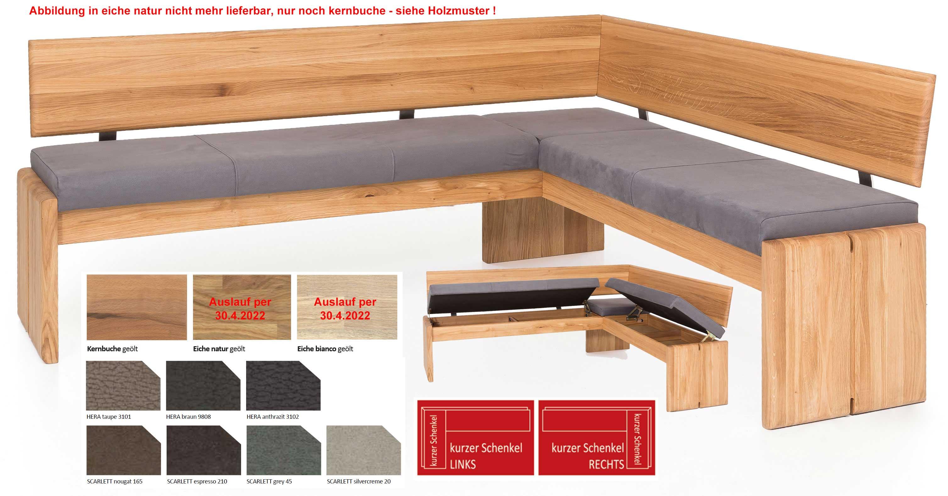 Standard Furniture Stockholm Truheneckbank massiv eiche mit Polster