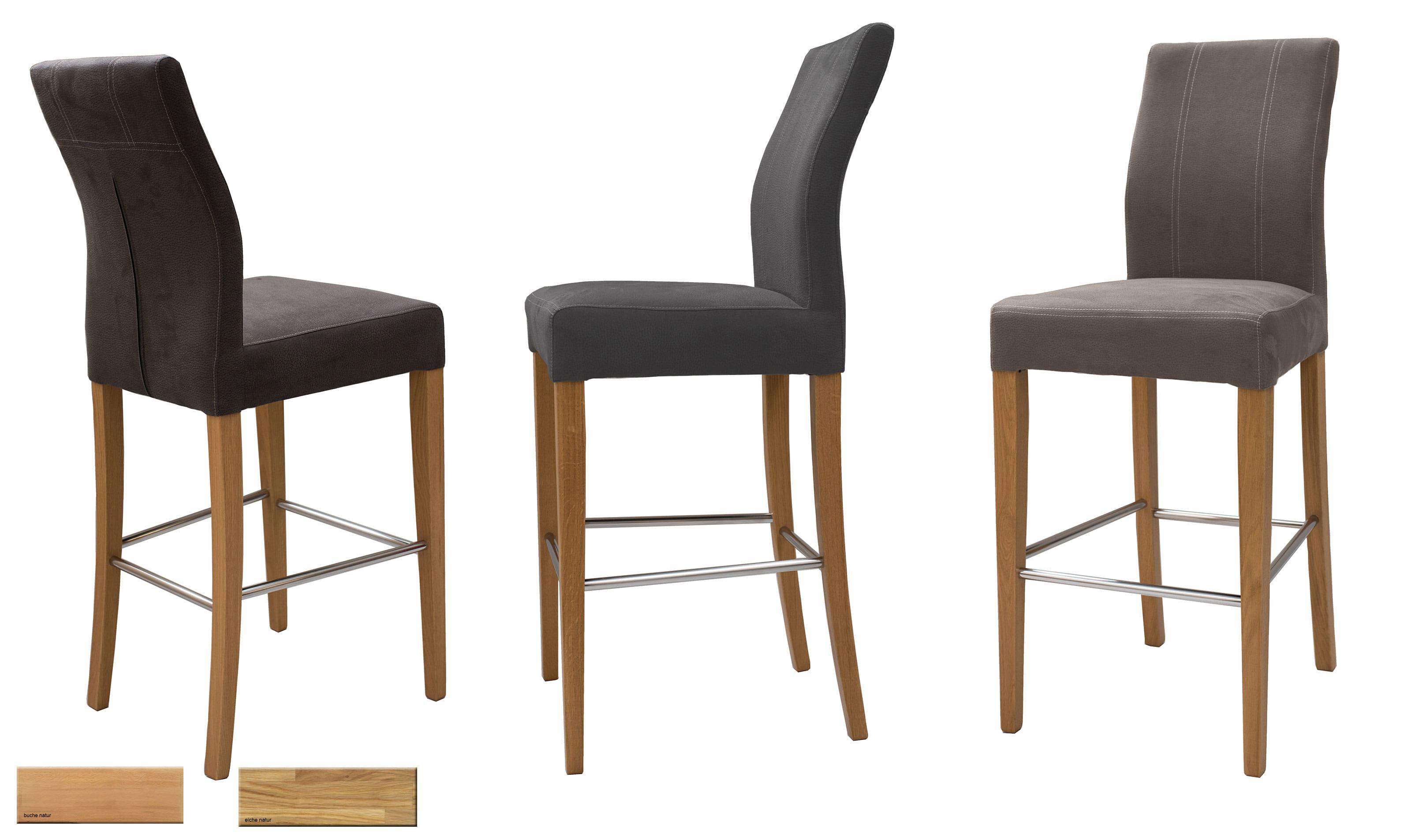 Standard Furniture Taki Tresenstuhl eiche mit Microfaser Bezug