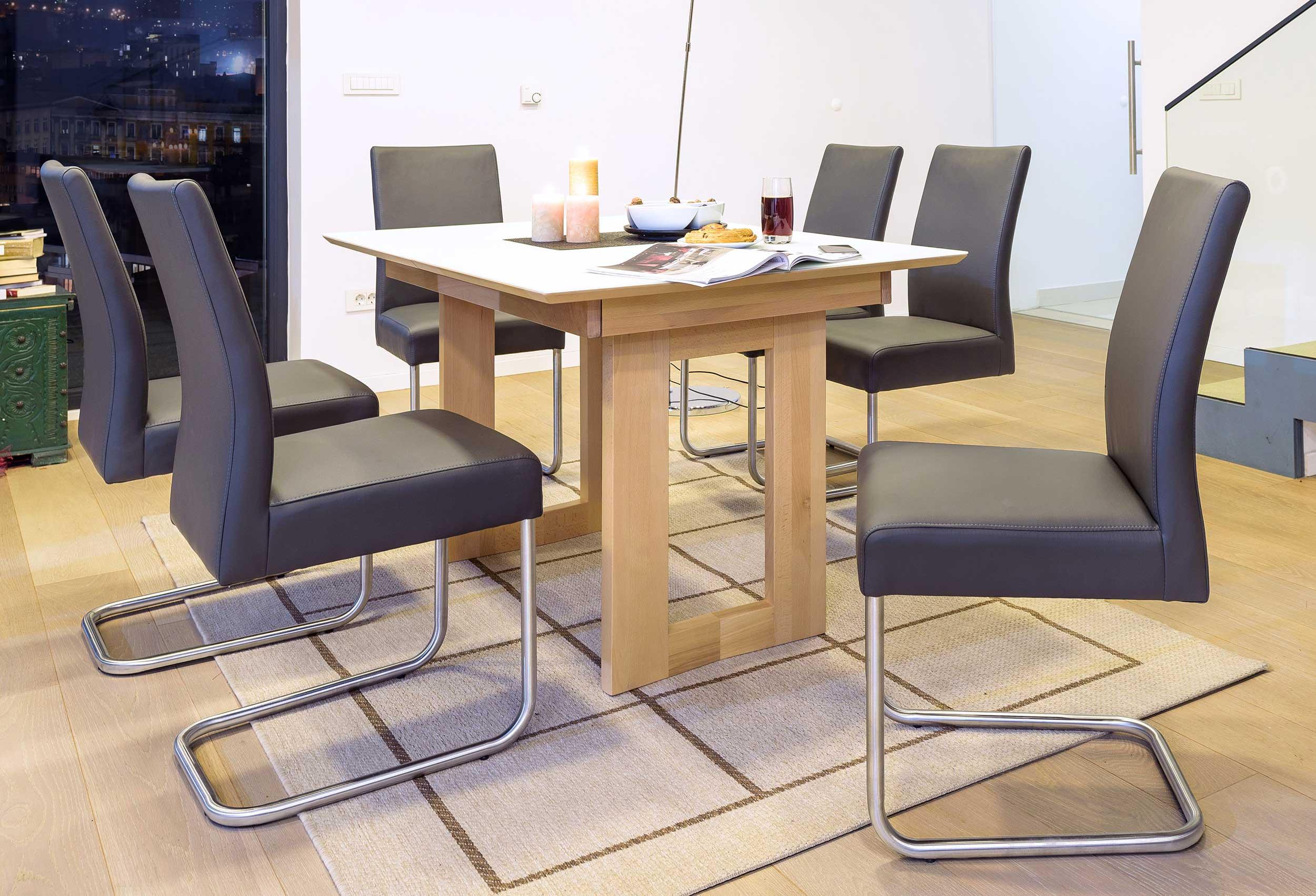 Standard Furniture Komforto Massivholz Esstisch kernbuche mit Glasplatte