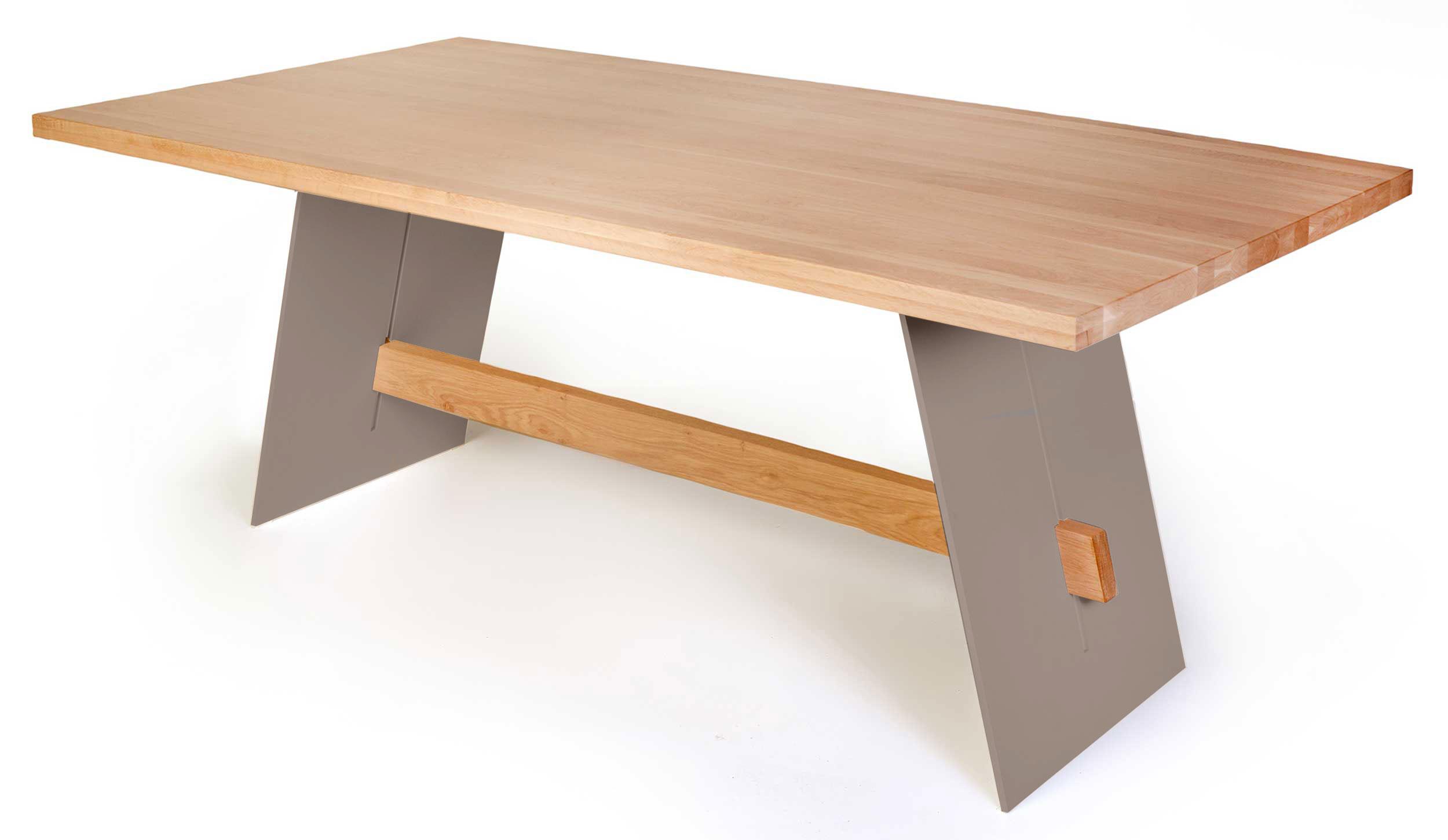 Standard Furniture Aladin Esstisch 180x90 cm eiche mit Metallwangen taupe