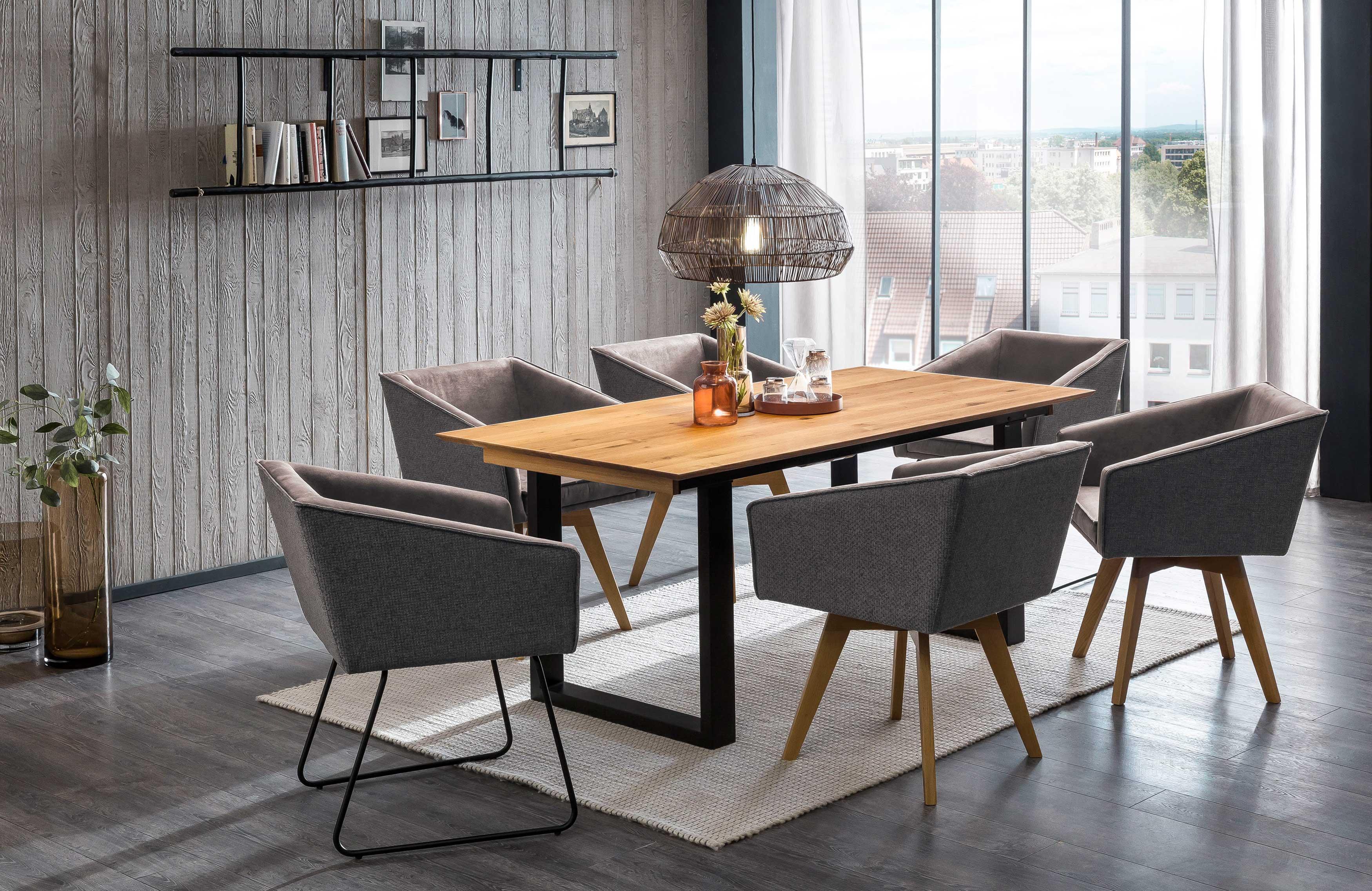 Standard Furniture moderne Essgruppe mit Tisch Rennes und Drehsesseln Toulouse