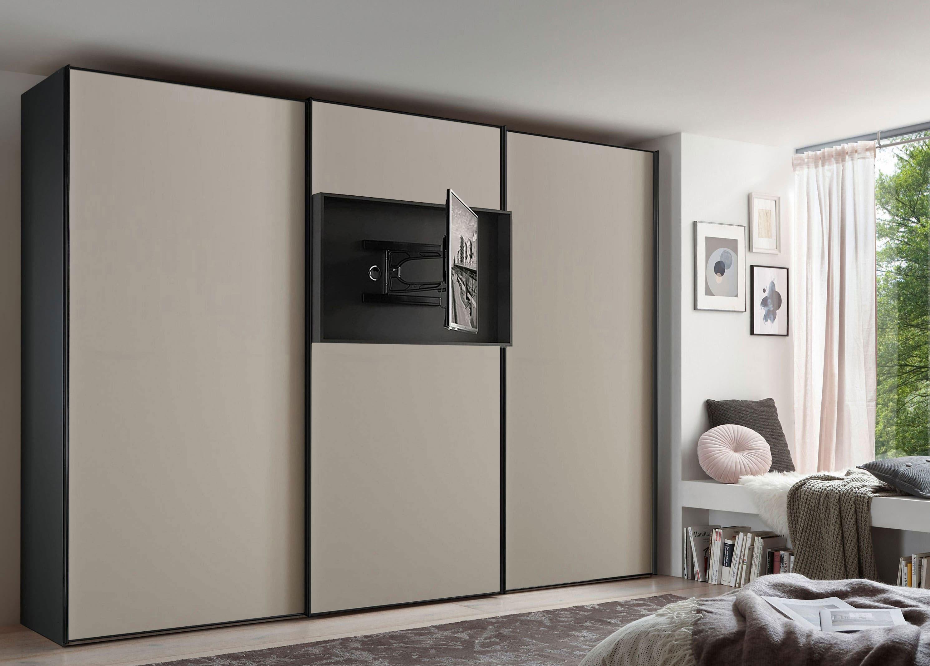 Staud Media Flat Kleiderschrank mit TV Fach Mattglas